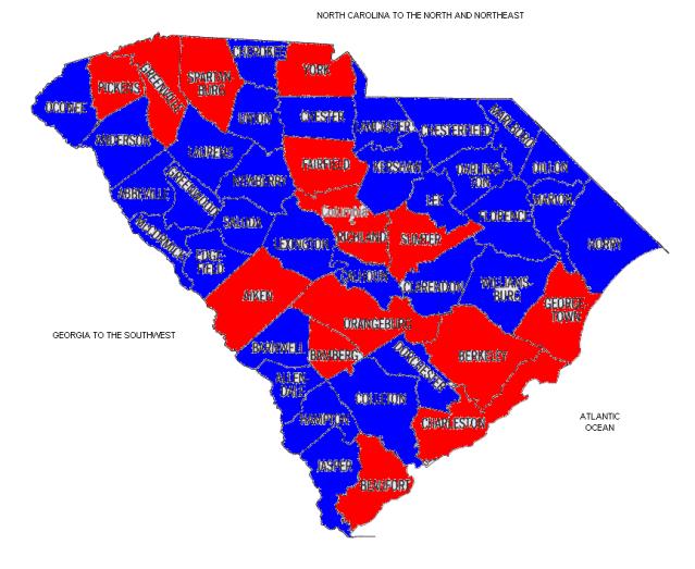 South Carolina 90%+ 1912-44