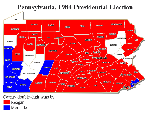 Pennsylvania 1984 double-digit county wins