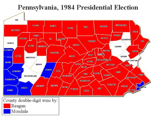 Pennsylvania 1984 double-digit county wins