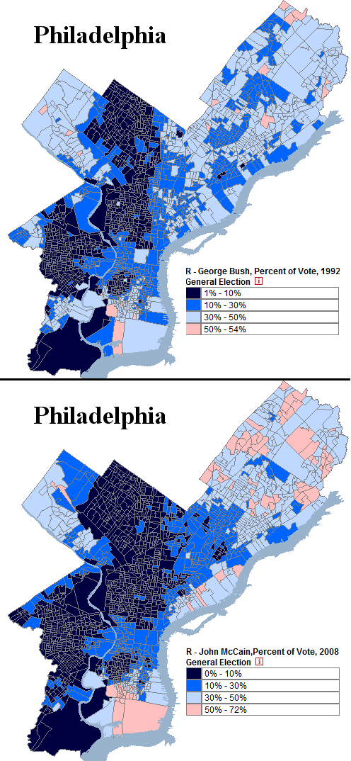 Pennsylvania Philadelphia Comparing McCain + Bush '92 Precinct Long