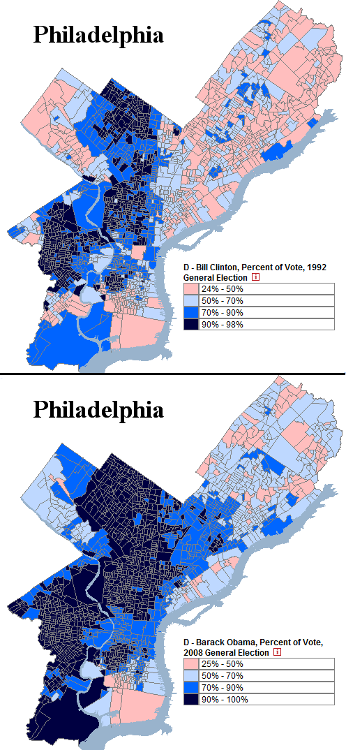 Pennsylvania Philadelphia Comparing Obama + Clinton '92 Precinct Long