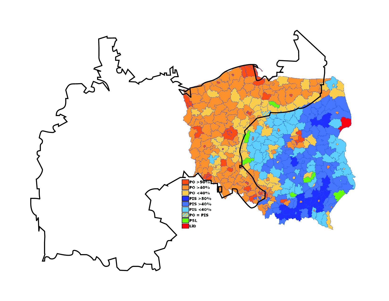 Polands Stark Electoral Divide GeoCurrents - Poland political map
